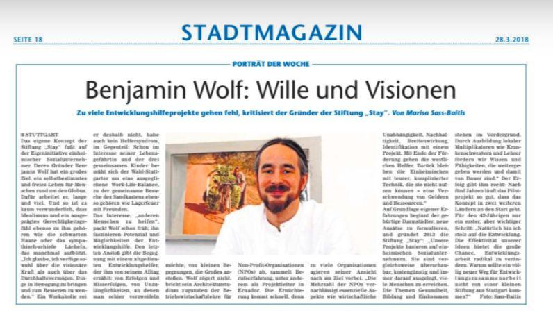 Zeitungsartikel über Benjamin Wolf