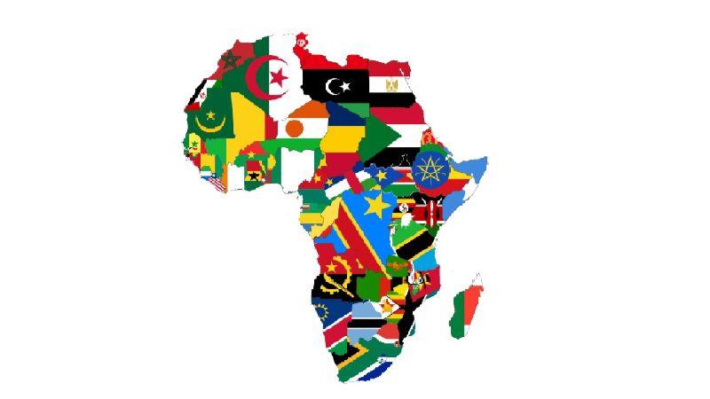 Karte Afrika mit Flaggen
